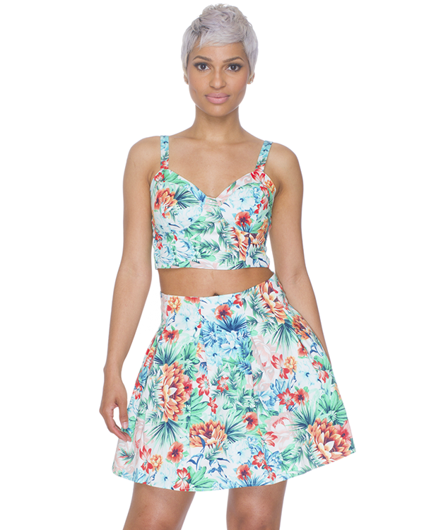 PARADISE DREAMER SKATER SKIRT AND BUSTIER SET