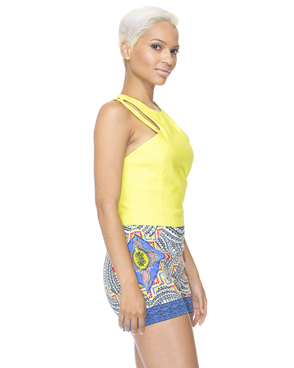 PIXEL PARTY High Waist Shorts in Blue at FLYJANE