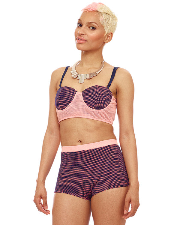 Pretty Gidget Two Tone Crop Top in Peach at FLYJANE