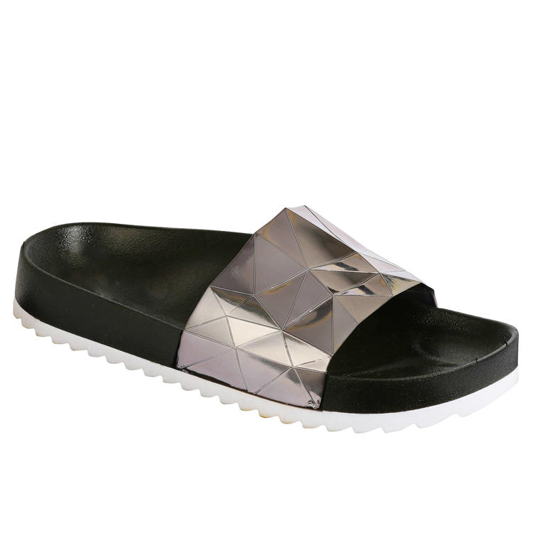 STARGAZER Beach Slides in Pewter at FLYJANE | Pewter Metallic Sandals | Cute Beach Slides | We've got your summer guide to slides, and these are at the top of the list. The Stargazer Slides are made in a trippy holographic metallic pewter and feature a