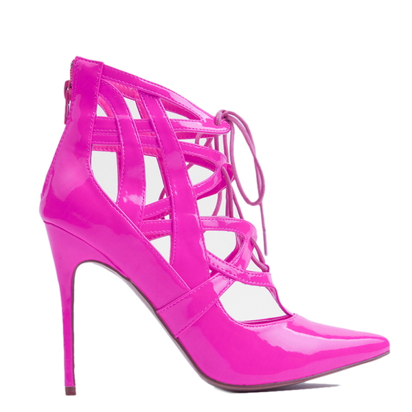 Penny Sue IBIZA Patent Bootie in Pink at FLYJANE