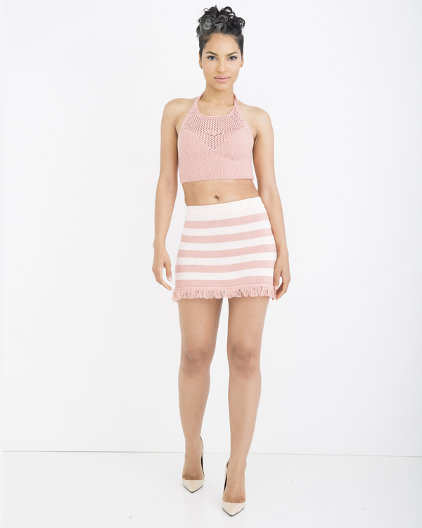 JOANIE Crochet Halter Top + LOVER GIRL STRIPED KNIT SKIRT at FLYJANE | Cute Outfits for Summer  | Crochet Top| Outfits to wear to Summer Festivals