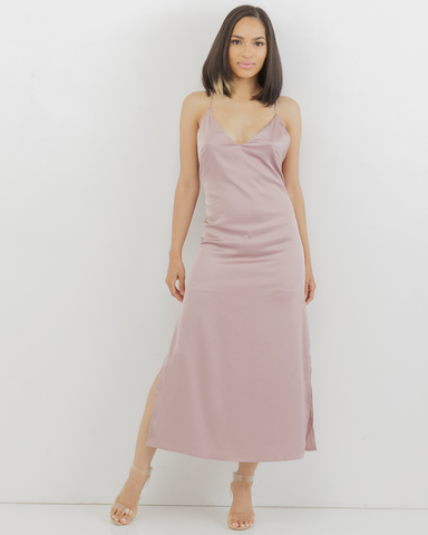The PINK SLIP Satin Slit Dress in Pink at FLYJANE | Satin Slip Dress | Little Pink Dress | Cute Party Dresses for the Holidays | Pink Satin Maxi Dress at FLYJANE