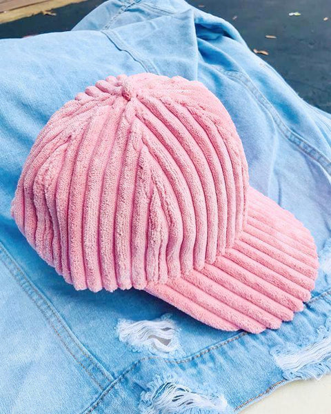 DARCI Corduroy Cap in Pink at FLYJANE | Cute Cozy Corduroy Baseball Caps for Loungewear or Bad Hair Days Cap | Shop Cute Accessories at FLYJANE | Velvet Baseball Cap | Pink Velour Cap