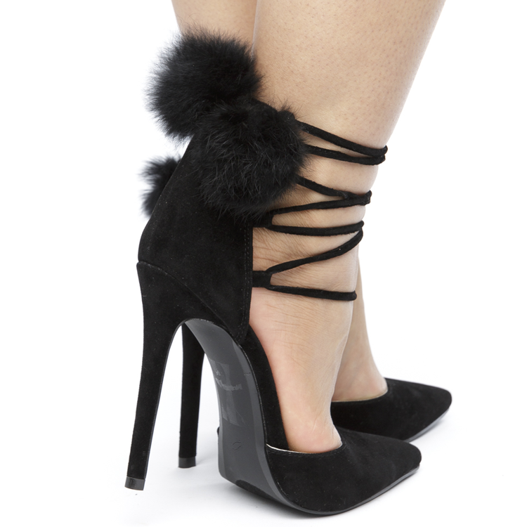 POM POM PARTY Suede Pump in Black at FLYJANE | Black Pom Pom Pump | Strappy Pump with Pom Pom | Cute Black Heels | Pom Date Faux Suede Pump Heel | Black Pumps