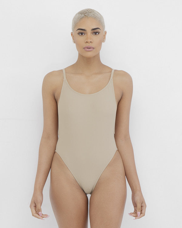 ONE DANCE One Piece Swimsuit in Taupe at FLYJANE | Sexy Taupe One Piece Bodysuit | Nude Beige Swimsuit | One Piece Swimsuit | private Party BaeWatch