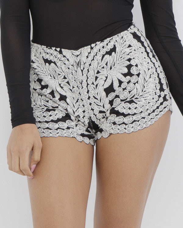 AVALON Embroidered Shorts at FLYJANE | Kendall Jenner Shorts | Black and White Lace Embroidered Shorts | Summer Fashion at FLYJANE