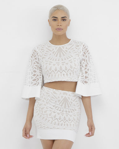AMOURA Damask Two Piece Skirt Set in White at FLYJANE | White Lace Outfit | Damask Skirt | Bell Sleeves Top | Black Mini Skirt | Follow us on @FlyJane on IG