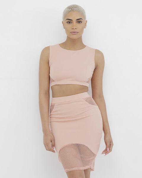 HALLE MESH Pencil Skirt Set in Blush at FLYJANE | Blush Pink Pencil Skirt Set | Skirt with Mesh Side Cutouts | Follow us on Instagram at @FlyJane