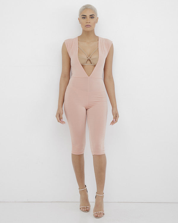 SUMMER LOVE Blush Pink Plunging Jumpsuit at FLYJANE | Knee Length Plunging Jumpsuit | Pink Jumpsuit | We're all about a good plunging neckline. This blush pink...