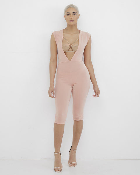 SUMMER LOVE Blush Pink Plunging Jumpsuit at FLYJANE | Knee Length Plunging Jumpsuit | Pink Jumpsuit | We