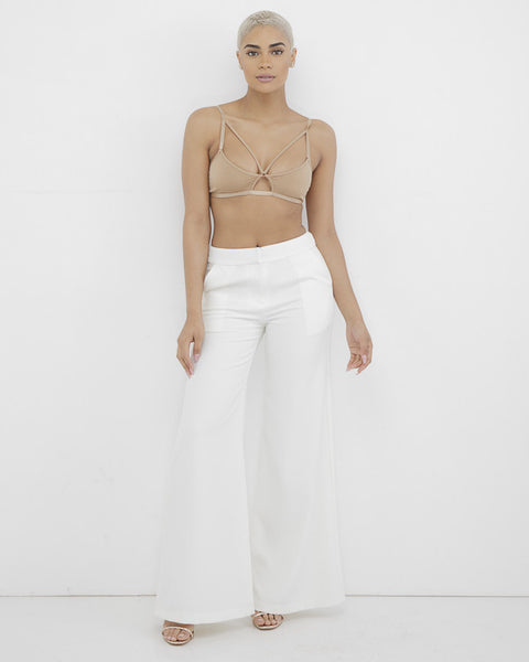 MISHA Off White Wide Leg Pants at FLYJANE | White Wide Leg Pants | White Women