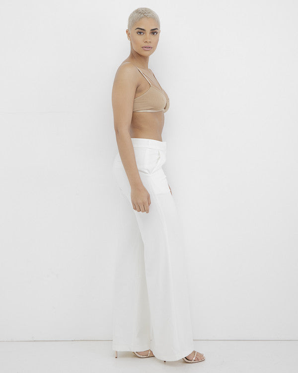 MISHA Off White Wide Leg Pants at FLYJANE | White Wide Leg Pants | White Women's Trousers| Contemporary Womens' Wide Leg Pants