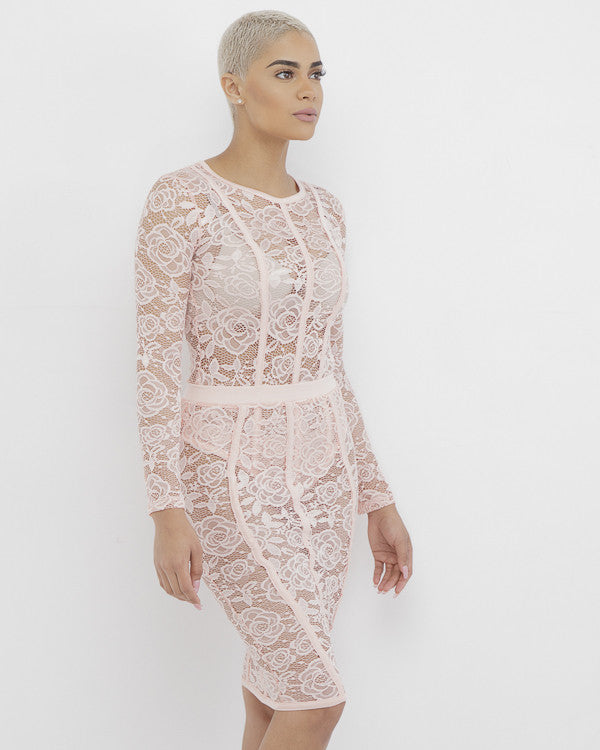 SAWYER Lace Skirt Set in Blush at FLYJANE | Pink Lace Bodysuit and Matching Bodycon Skirt Set | Club Wear | Pink Lace Outfit | @FlyJane on Instagram | Summer