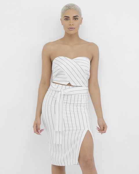 CLEAR CONCEPTION Slit Skirt Set at FLYJANE | White and Black Midi Skirt and Matching Bandeau Top | Kendall Jenner White and Black Striped Romper | Kendall Jenner