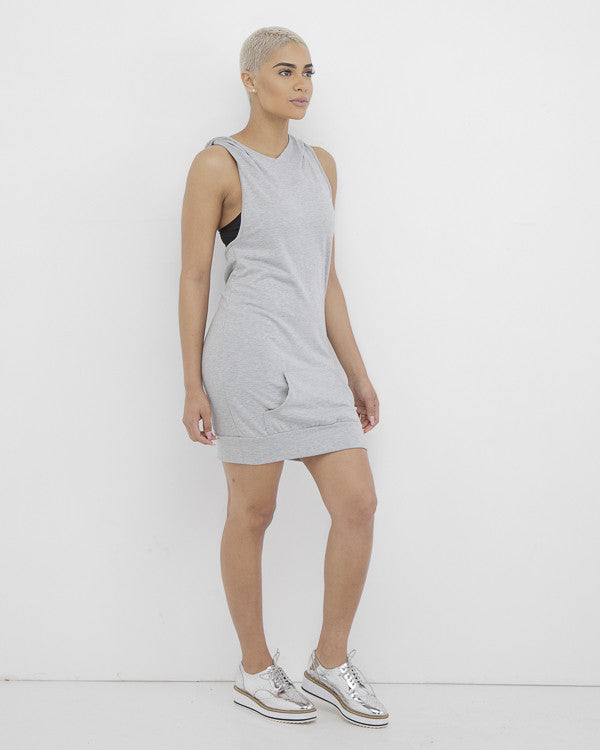 THE COOL OUT Grey Hooded Shirtdress at FLYJANE | Sleeveless Hooded Sweatshirt Dress Minidress | Grey Hoodie | Follow us on Instagram at @FlyJane
