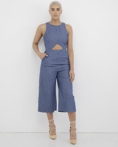NORMA LEE Cutout Denim Culotte Romper at FLYJANE | Sexy Cute Stretch Denim Romper | Cute Culottes for Spring | Follow us NOW on Instagram at @FlyJane