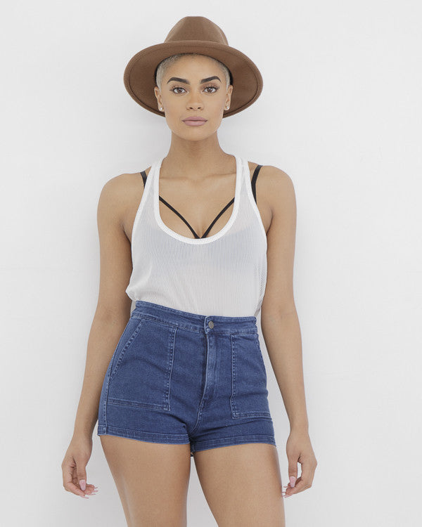 OH! DONNA High Waist Stretch Denim Shorts at FLYJANE | Women's Juniors Cargo Denim Shorts | Contemporary Style at FLYJANE