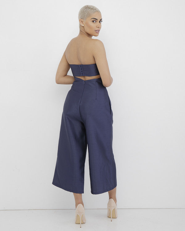 CHELSEA SWEETHEART JUMPSUIT - NAVY