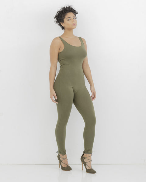KNIT FIT Jersey Bodysuit Catsuit in Olive Green at FLYJANE | Green Bodysuit | Green Leggings | Green Catsuit | Jersey One Piece Leggings Catsuit | Fit Chicks On...