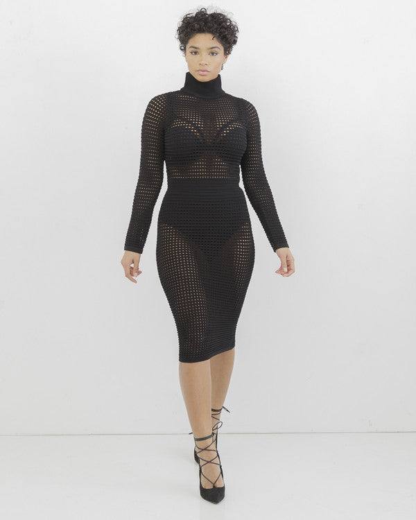 DO I MAKE MYSELF CLEAR Mesh Midi Party Dress in Black at FLYJANE | Black Premium Mesh Dress | The Loud Factory by FLYJANE KIM Dress | Kim Kardashian Mesh Dress