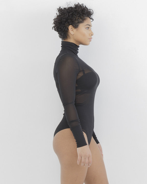 REZY Sheer Black Mock Neck Bodysuit by The Loud Factory at FLYJANE | Mock Neck Sheer Bodysuit under $50 | Kim Kardashian Black Sheer Bodysuit |