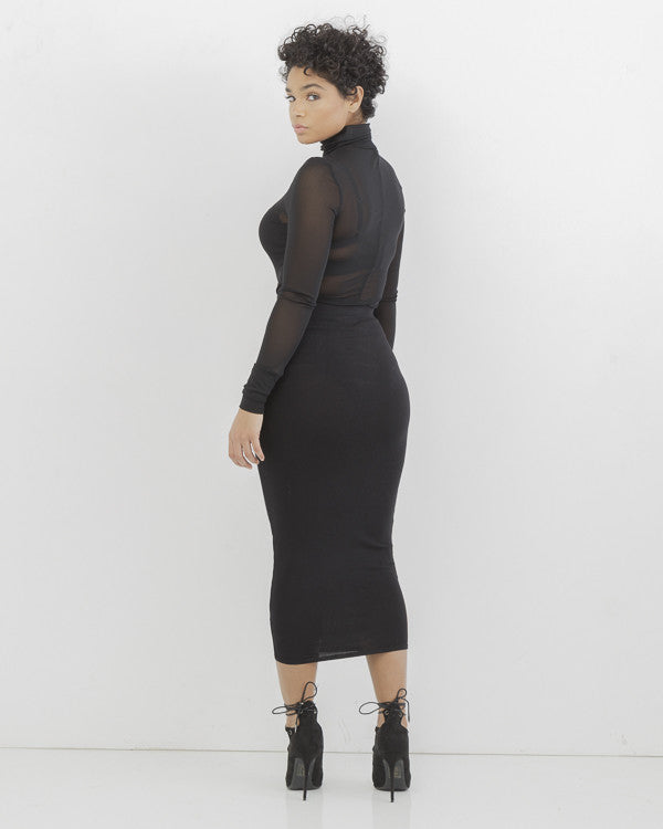 BODY TALK Pencil Skirt in Black at FLYJANE | Black Bodycon Skirt | Curvy Skirt | Black Pencil Skirt | Body Conversation Skirt | Black Stretchy Skirt