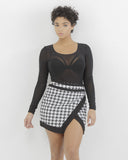CHECK YOURSELF Houndstooth Skirt at FLYJANE
