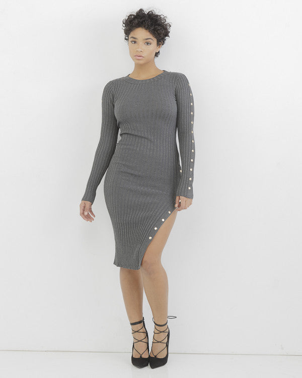 LEVELS RIBBED MIDI DRESS