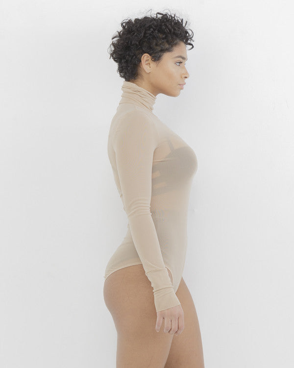 REZY Sheer Nude Mock Neck Bodysuit by The Loud Factory at FLYJANE | Mock Neck Sheer Bodysuit under $50 | Kim Kardashian Nude Sheer Bodysuit