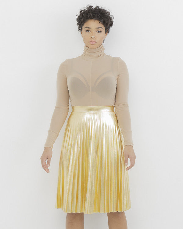 PIPPA Faux Gold Metallic Leather Pleated Skirt at FLYJANE | Gold Leather Skirt | Gold Pleated Skirt | Cute Contemporary Fall Clothes under $100 | Kendall Jenner