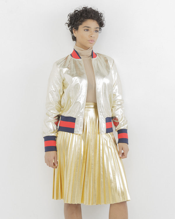 THE GLO UP Metallic Bomber Jacket in Gold at FLYJANE | Gold Metallic Bomber Jacket | Gold Gucci Inspired Bomber Jacket | Follow us on Instagram at @FlyJane
