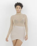 MAKIN' WAVES Bandage Mini Skirt in Nude at FLYJANE | Criss Cross Bandage Waves | Stretch Skirt | Nude Miniskirt | Kim Kardashian Bandage Mini Skirt