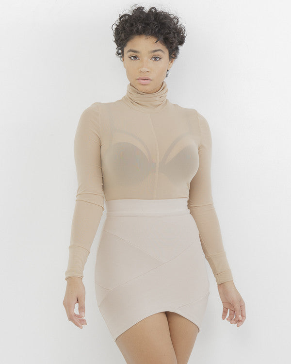 MAKIN' WAVES Bandage Mini Skirt in Nude at FLYJANE | Criss Cross Bandage Waves | Stretch Skirt | Nude Miniskirt | Cute Clothes for Juniors | Kim Kardashian Skirt