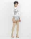 Endless Rose CHANTILLY Sheer Top in Off White at FLYJANE