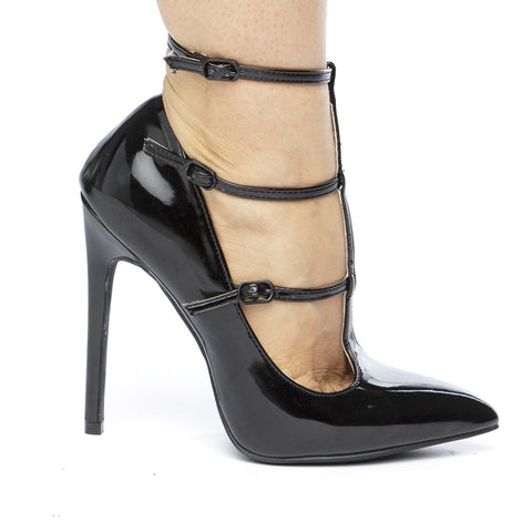 The ANYA T-Strap Patent Pumps in Black at FLYJANE | Black Patent Pumps | Cute Girl T-Strap Heels | Cute Shoes for Fall 2016 |