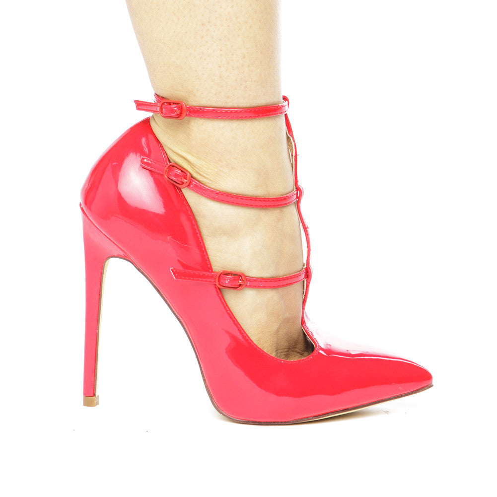 The ANYA T-STRAP PATENT PUMP - RED
