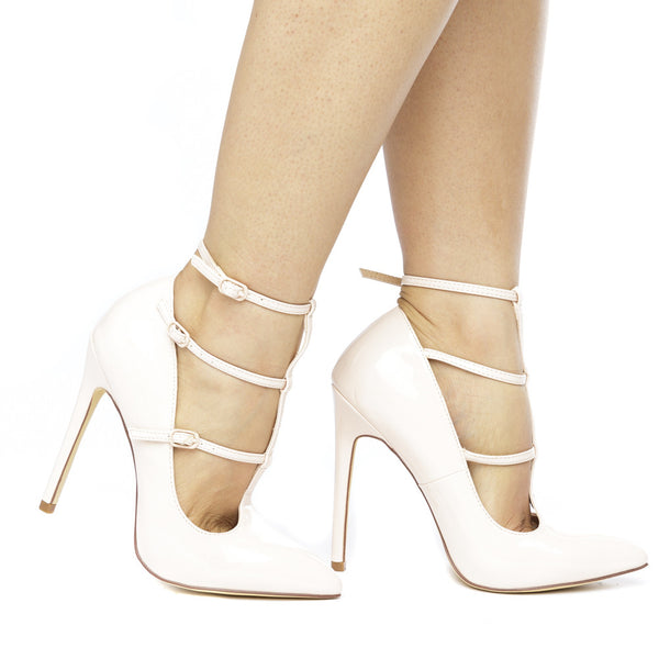 The ANYA T-STRAP PATENT PUMP - NUDE