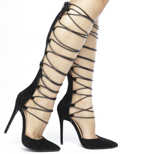 NOELLA Black Strappy Gladiator Pumps at FLYJANE | Pointed Toe Knee Length Gladiator Sandals | Exotic Designer Shoes | Black Gladiators under $100 | Gladiators