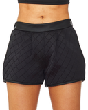 Twisted Cable Quilted Shorts in Black at FLYJANE