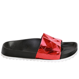 STARGAZER Beach Slides in Metallic Red at FLYJANE | Red Metallic Sandals | Cute Red Beach Slides | The Stargazer Slides are made in a trippy holographic metallic Red