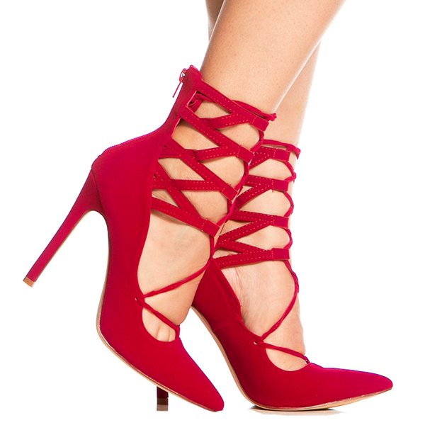 TALIA LACE UP HEEL - RED