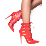 ARRIANE Laser Cutout Bootie in Red at FLYJANE | Red Color Pointed Toe Bootie | Follow us on Instagram at @FlyJane
