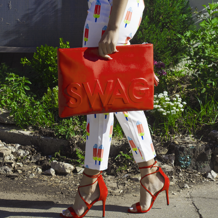 I GOT HOT SAUCE IN MY BAG SWAG! Oversized Clutch Bag in Red Orange | FLYJANE | Swag Bag in Red | Red Oversized Embossed Clutch Bag | Cute Embossed Clutch