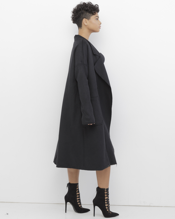 RAMAUL Full Length Wool Trench Overcoat in Black at FLYJANE | Black Wool Coats | Distressed Wool Trench Coat under $100 | Black Wool Riding Coat | Black Wool Car Coat