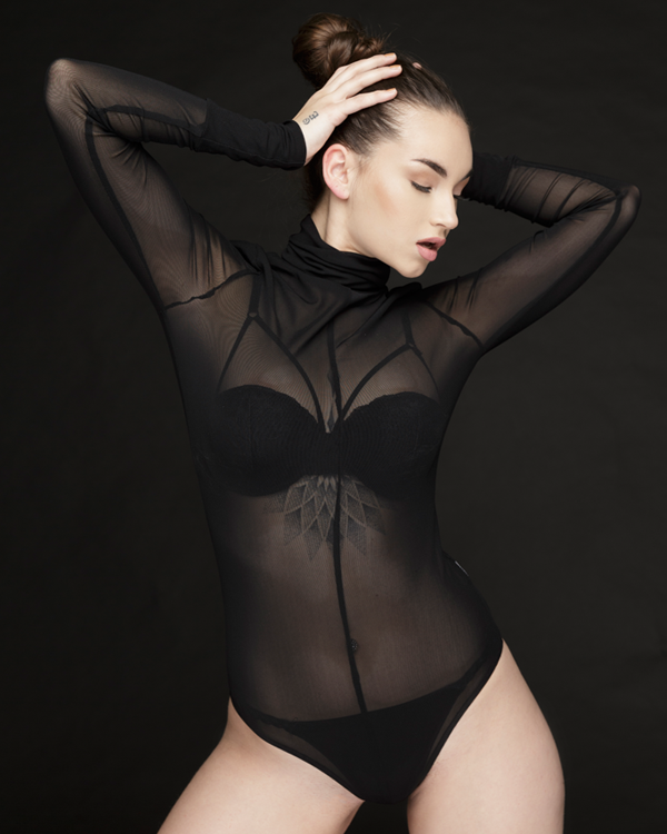 REZY SHEER BODYSUIT - BLACK