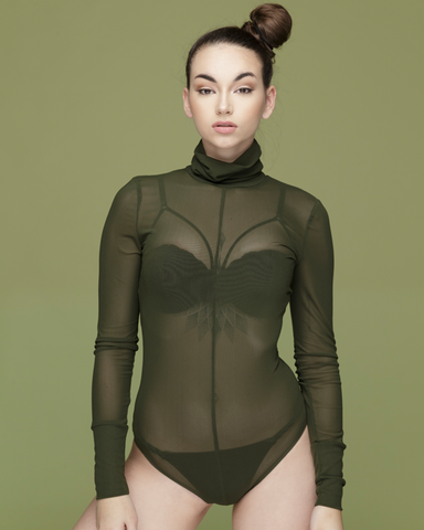 REZY Sheer Olive Green Mock Neck Bodysuit by The Loud Factory at FLYJANE | Mock Neck Sheer Bodysuit under $50 | Kim Kardashian Olive Green Sheer Bodysuit