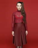 REZY Sheer Wine Red Mock Neck Bodysuit by The Loud Factory at FLYJANE | Mock Neck Sheer Bodysuit under $50 | Kim Kardashian Burgundy Wine Red Sheer Bodysuit