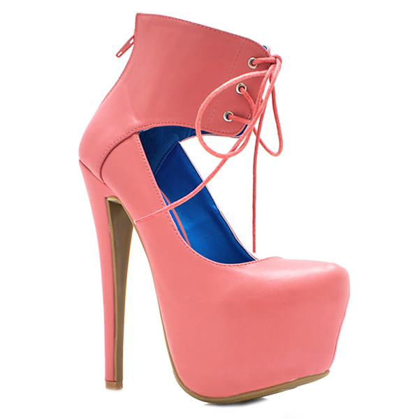BOUDOIR CORSET Platform Pump in Blush at FLYJANE