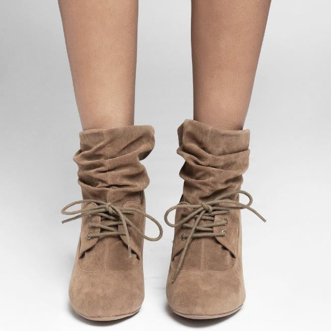 Qupid ROCKIN-03 Satchel Boot in Taupe at FLYJANE